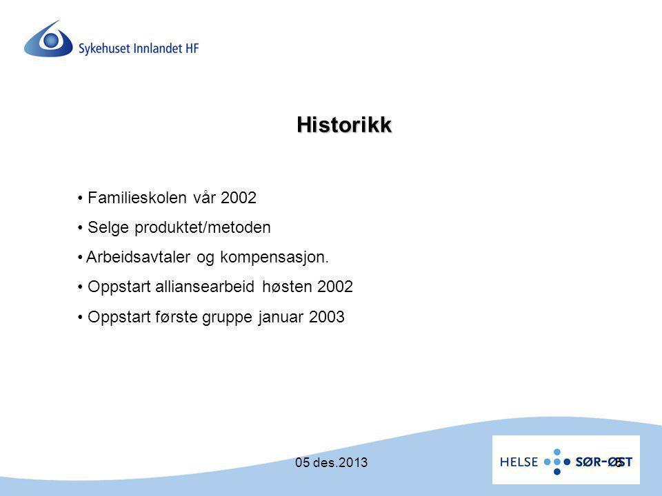 Historikk • Familieskolen vår 2002 • Selge produktet/metoden • Arbeidsavtaler og kompensasjon. • Oppstart alliansearbeid høsten 2002 • Oppstart første