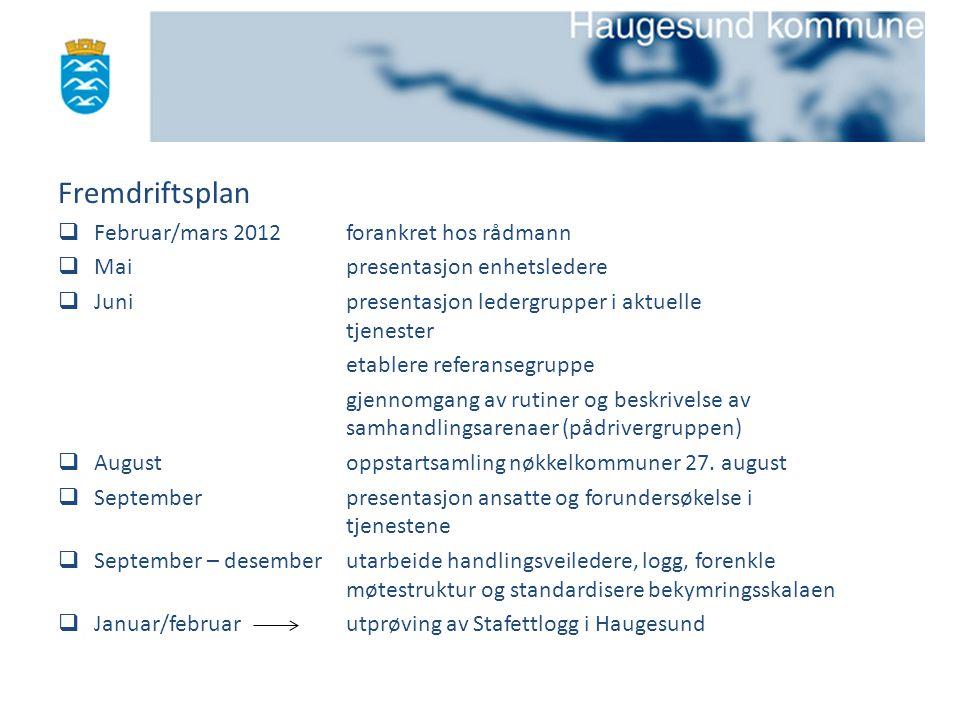 Fremdriftsplan  Februar/mars 2012forankret hos rådmann  Maipresentasjon enhetsledere  Junipresentasjon ledergrupper i aktuelle tjenester etablere r