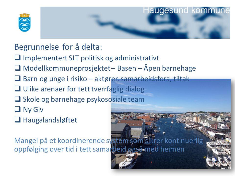 Begrunnelse for å delta:  Implementert SLT politisk og administrativt  Modellkommuneprosjektet – Basen – Åpen barnehage  Barn og unge i risiko – ak