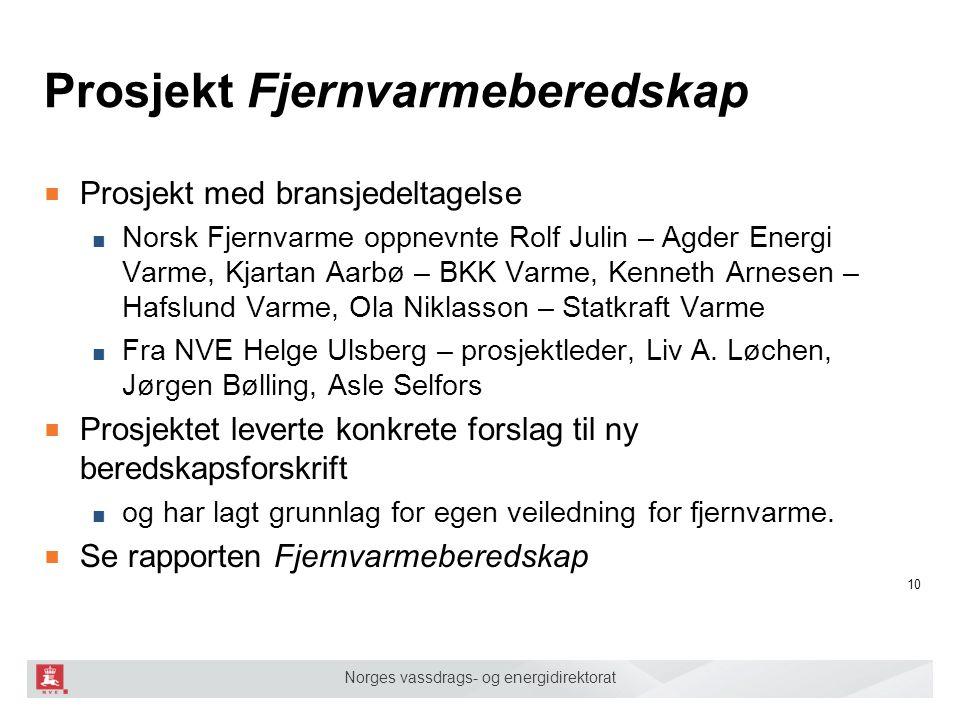 Norges vassdrags- og energidirektorat Prosjekt Fjernvarmeberedskap ■ Prosjekt med bransjedeltagelse ■ Norsk Fjernvarme oppnevnte Rolf Julin – Agder En