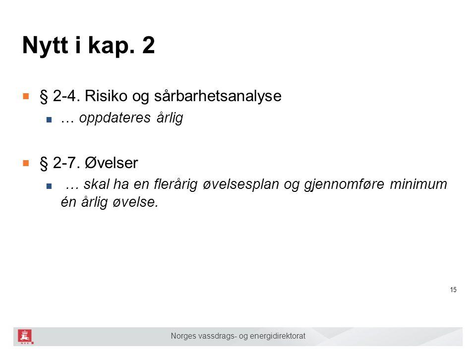 Norges vassdrags- og energidirektorat Nytt i kap. 2 ■ § 2-4. Risiko og sårbarhetsanalyse ■ … oppdateres årlig ■ § 2-7. Øvelser ■ … skal ha en flerårig