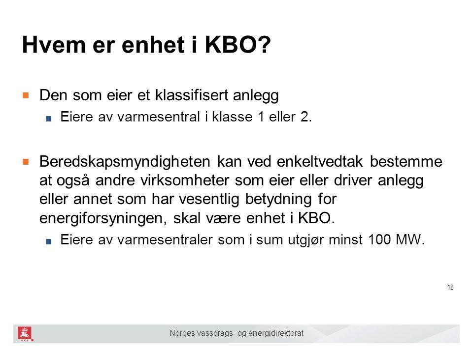 Norges vassdrags- og energidirektorat Hvem er enhet i KBO? ■ Den som eier et klassifisert anlegg ■ Eiere av varmesentral i klasse 1 eller 2. ■ Beredsk
