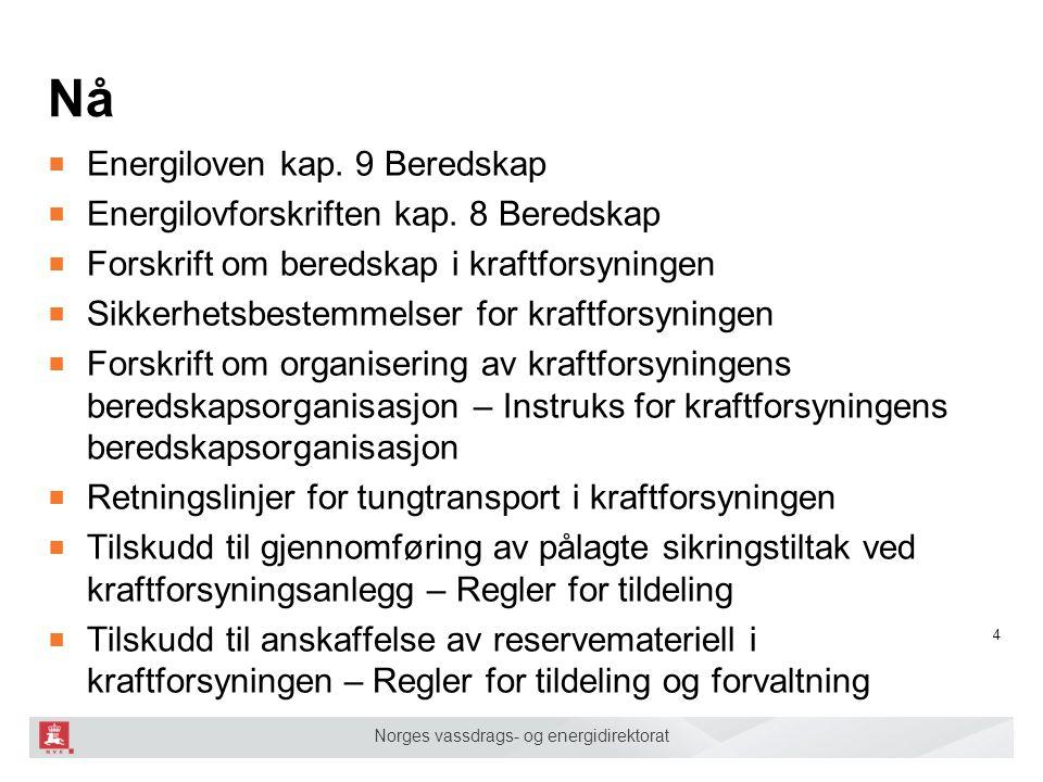 Norges vassdrags- og energidirektorat Nå ■ Energiloven kap. 9 Beredskap ■ Energilovforskriften kap. 8 Beredskap ■ Forskrift om beredskap i kraftforsyn
