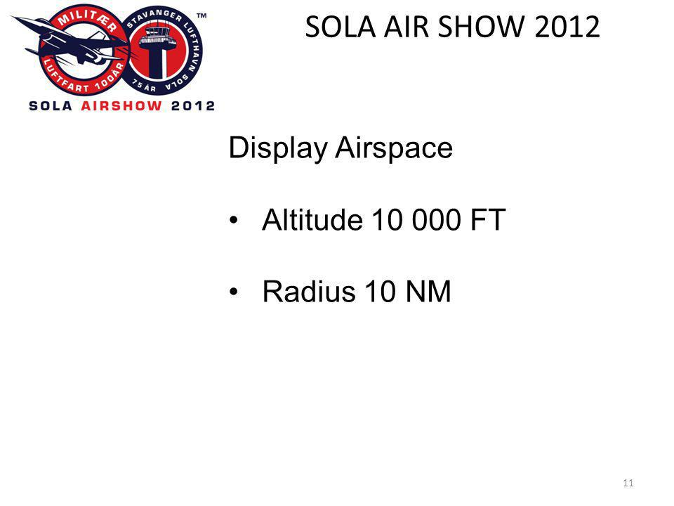 SOLA AIR SHOW 2012 11 Display Airspace •Altitude 10 000 FT •Radius 10 NM
