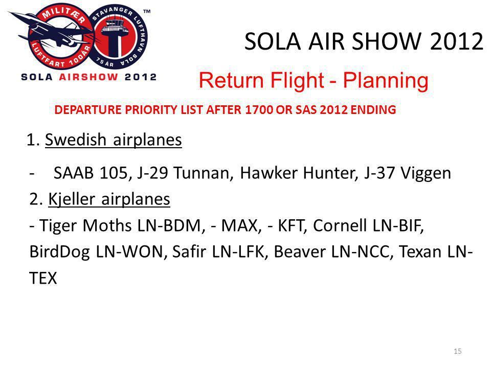 SOLA AIR SHOW 2012 15 Return Flight - Planning DEPARTURE PRIORITY LIST AFTER 1700 OR SAS 2012 ENDING 1. Swedish airplanes -SAAB 105, J-29 Tunnan, Hawk