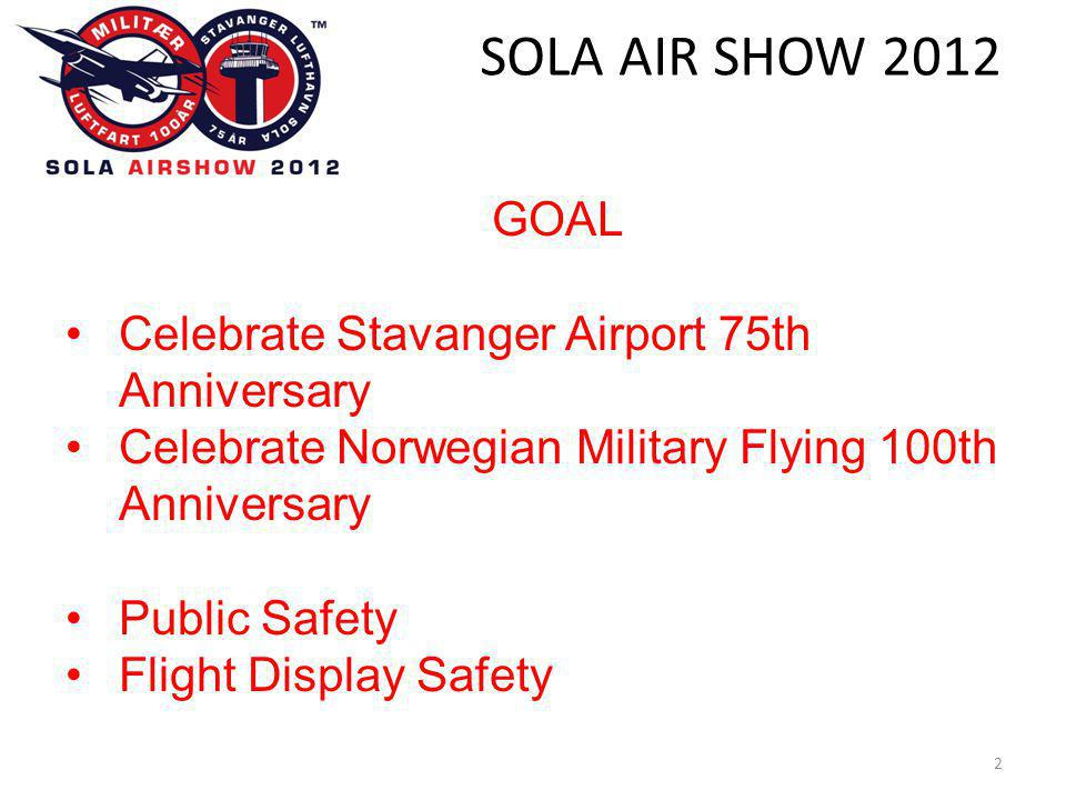 SOLA AIR SHOW GOAL •Celebrate Stavanger Airport 75th Anniversary •Celebrate Norwegian Military Flying 100th Anniversary •Public Safety •Flight Display Safety