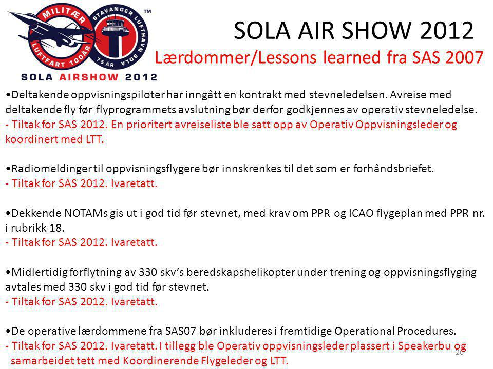 SOLA AIR SHOW 2012 26 •Deltakende oppvisningspiloter har inngått en kontrakt med stevneledelsen.