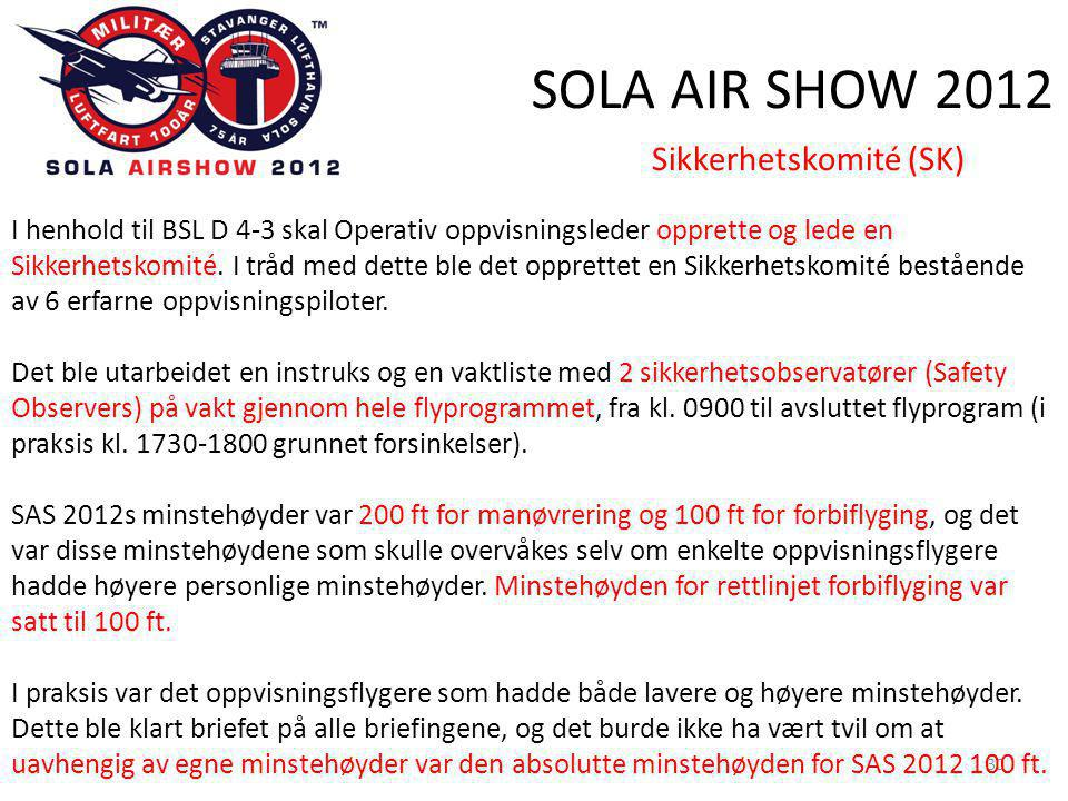 SOLA AIR SHOW 2012 30 Sikkerhetskomité (SK) I henhold til BSL D 4-3 skal Operativ oppvisningsleder opprette og lede en Sikkerhetskomité.
