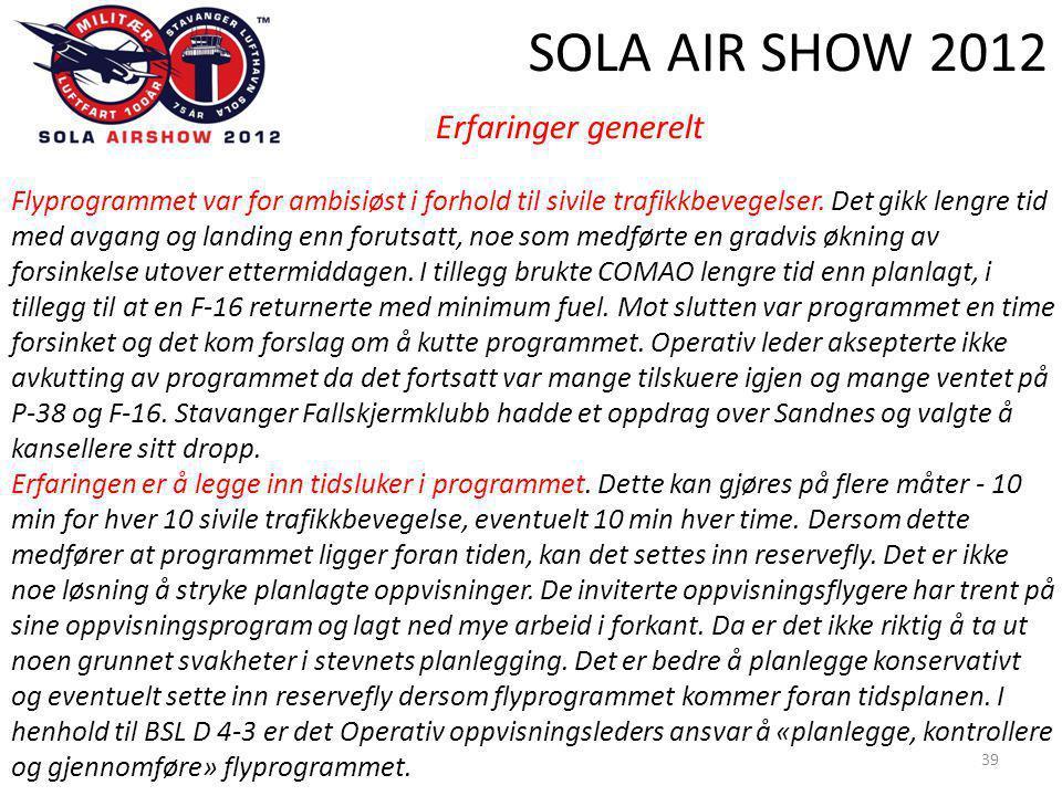 SOLA AIR SHOW 2012 39 Erfaringer generelt Flyprogrammet var for ambisiøst i forhold til sivile trafikkbevegelser.