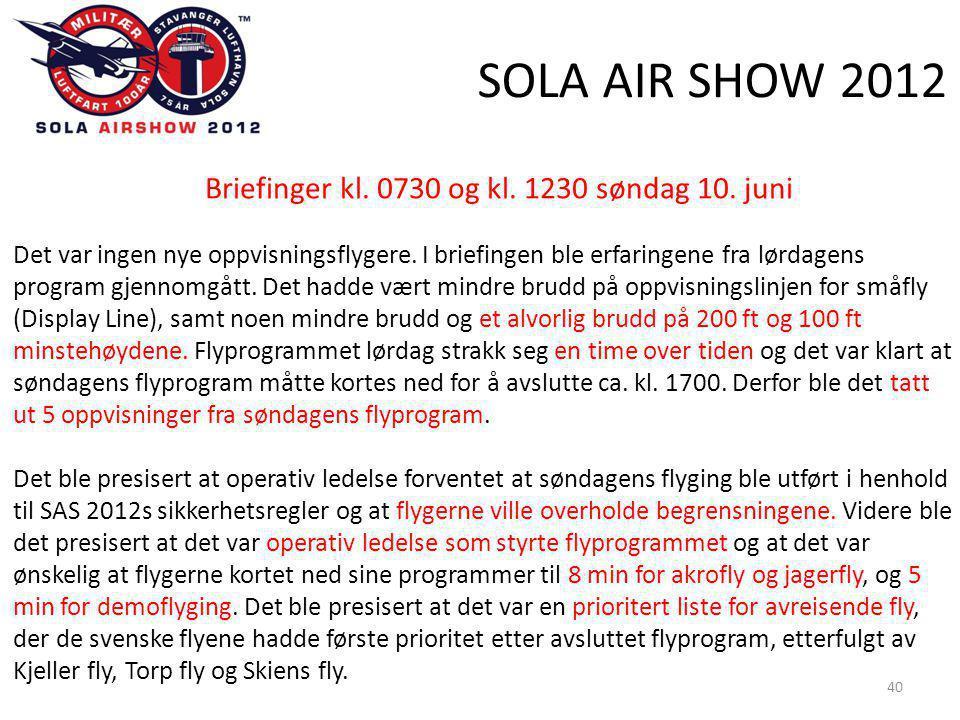 SOLA AIR SHOW 2012 40 Briefinger kl. 0730 og kl. 1230 søndag 10.