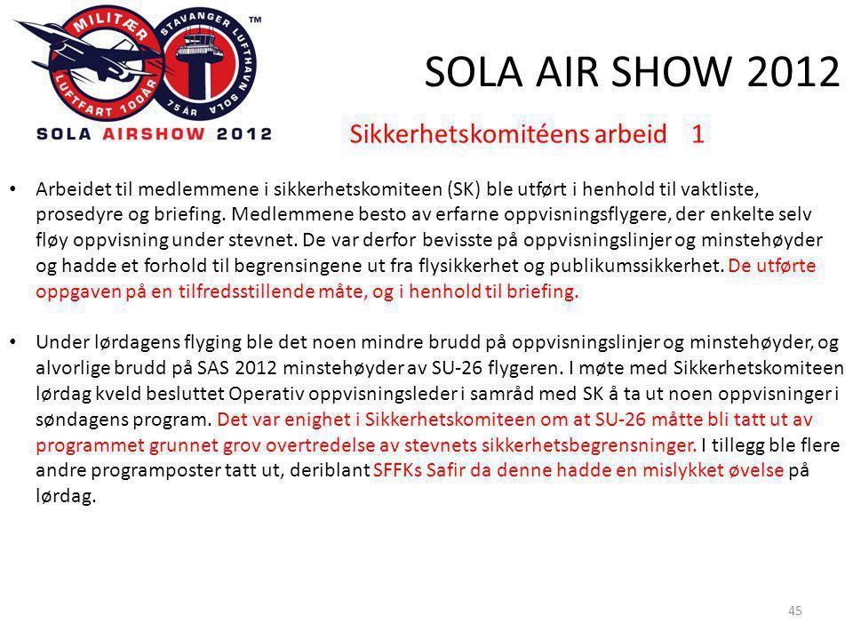 SOLA AIR SHOW 2012 45 Sikkerhetskomitéens arbeid 1 • Arbeidet til medlemmene i sikkerhetskomiteen (SK) ble utført i henhold til vaktliste, prosedyre og briefing.