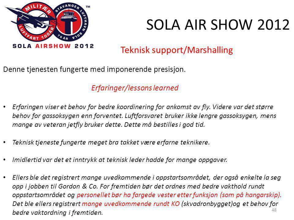 SOLA AIR SHOW 2012 48 Teknisk support/Marshalling Denne tjenesten fungerte med imponerende presisjon.