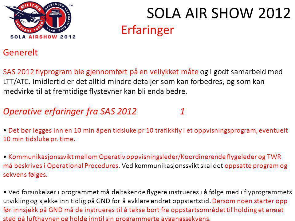 SOLA AIR SHOW 2012 56 Erfaringer Generelt SAS 2012 flyprogram ble gjennomført på en vellykket måte og i godt samarbeid med LTT/ATC.