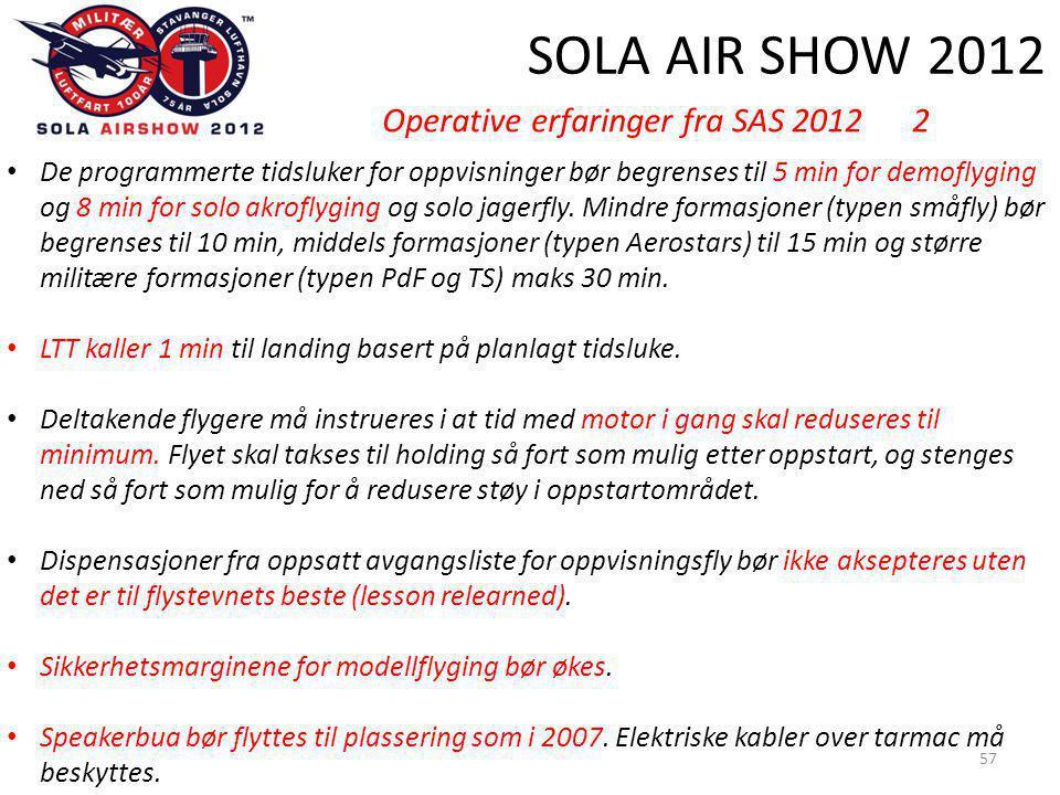 SOLA AIR SHOW 2012 57 • De programmerte tidsluker for oppvisninger bør begrenses til 5 min for demoflyging og 8 min for solo akroflyging og solo jagerfly.