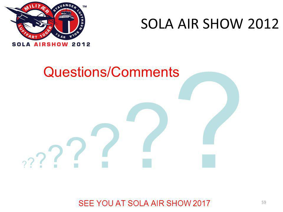 SOLA AIR SHOW Questions/Comments SEE YOU AT SOLA AIR SHOW 2017