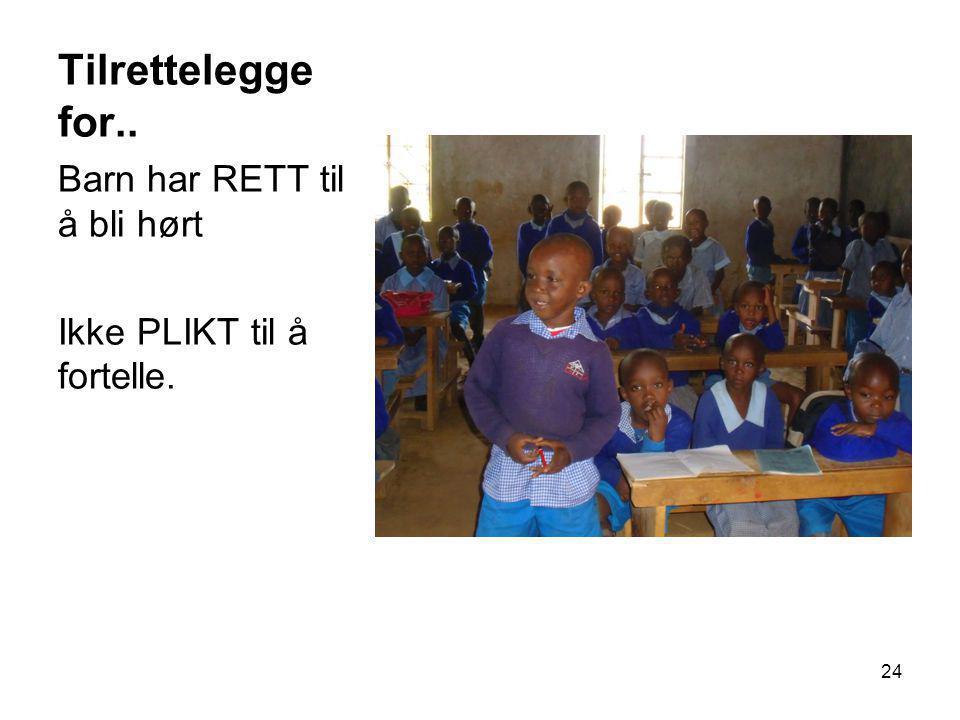 Tilrettelegge for.. Barn har RETT til å bli hørt Ikke PLIKT til å fortelle. 24
