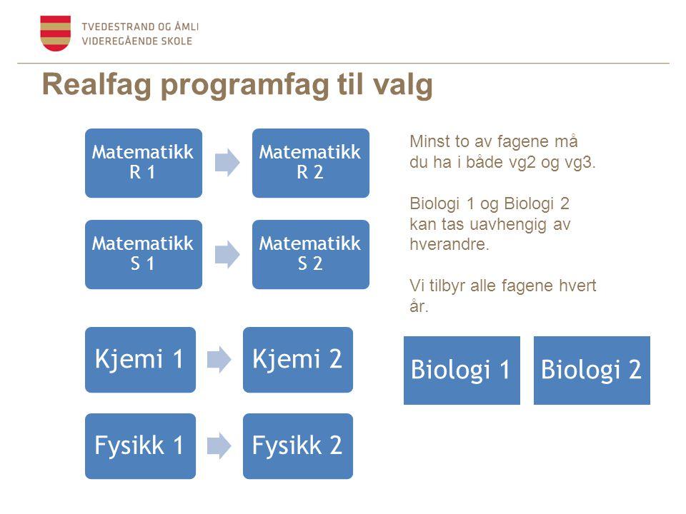 Realfag programfag til valg Biologi 1Biologi 2 Kjemi 1Kjemi 2 Fysikk 1Fysikk 2 Matematikk R 1 Matematikk R 2 Minst to av fagene må du ha i både vg2 og