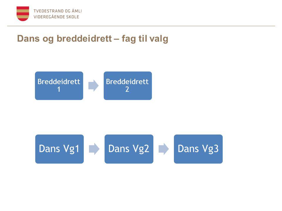 Dans og breddeidrett – fag til valg Dans Vg1Dans Vg2Dans Vg3 Breddeidrett 1 Breddeidrett 2