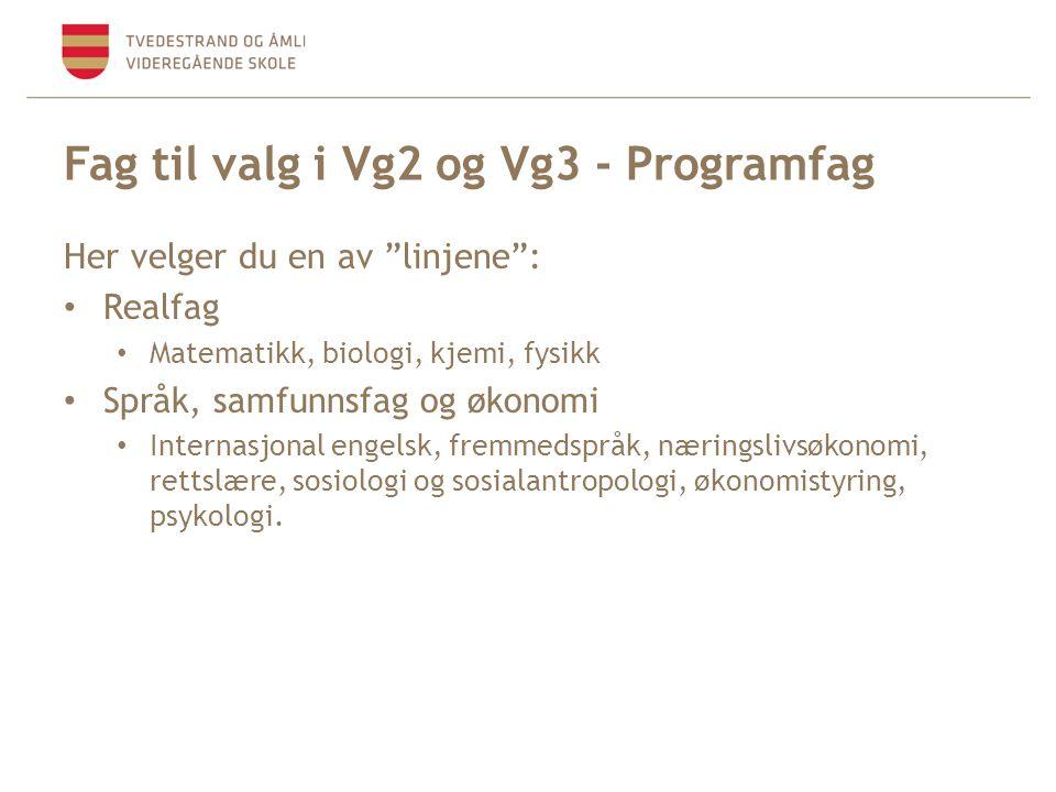 """Fag til valg i Vg2 og Vg3 - Programfag Her velger du en av """"linjene"""": • Realfag • Matematikk, biologi, kjemi, fysikk • Språk, samfunnsfag og økonomi •"""