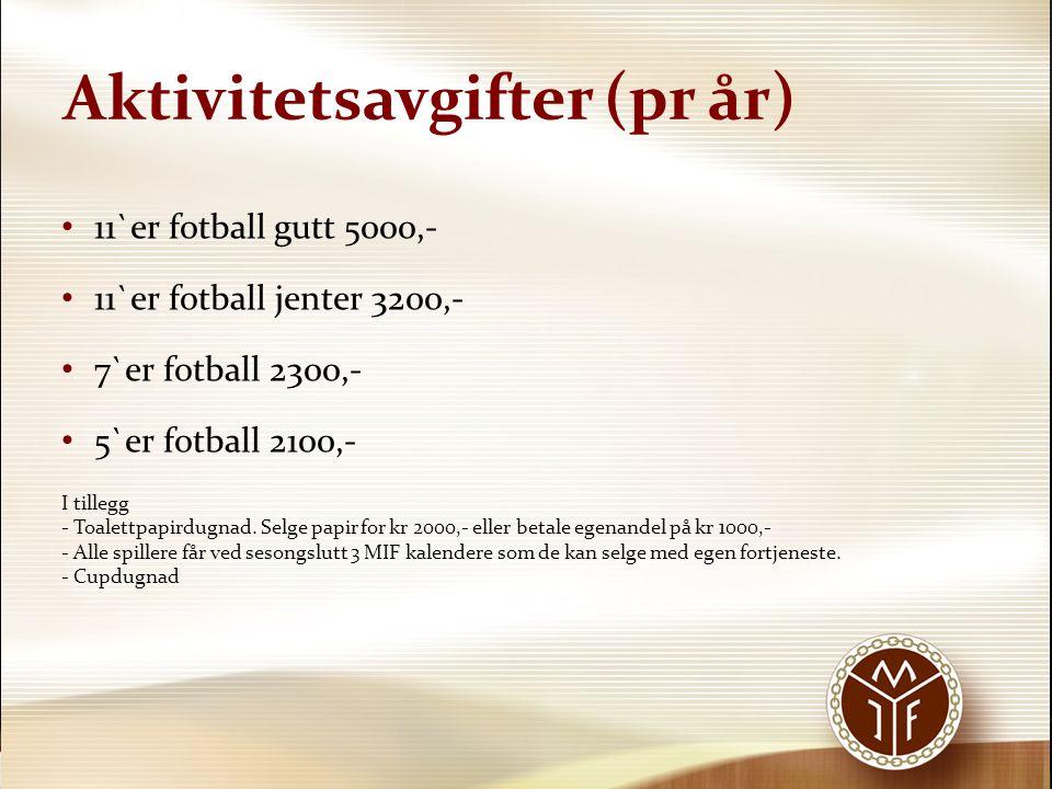 Aktivitetsavgifter (pr år) • 11`er fotball gutt 5000,- • 11`er fotball jenter 3200,- • 7`er fotball 2300,- • 5`er fotball 2100,- I tillegg - Toalettpa