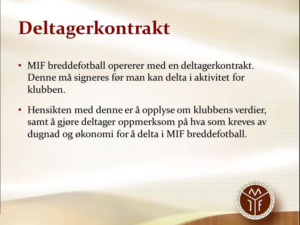 Deltagerkontrakt • MIF breddefotball opererer med en deltagerkontrakt. Denne må signeres før man kan delta i aktivitet for klubben. • Hensikten med de