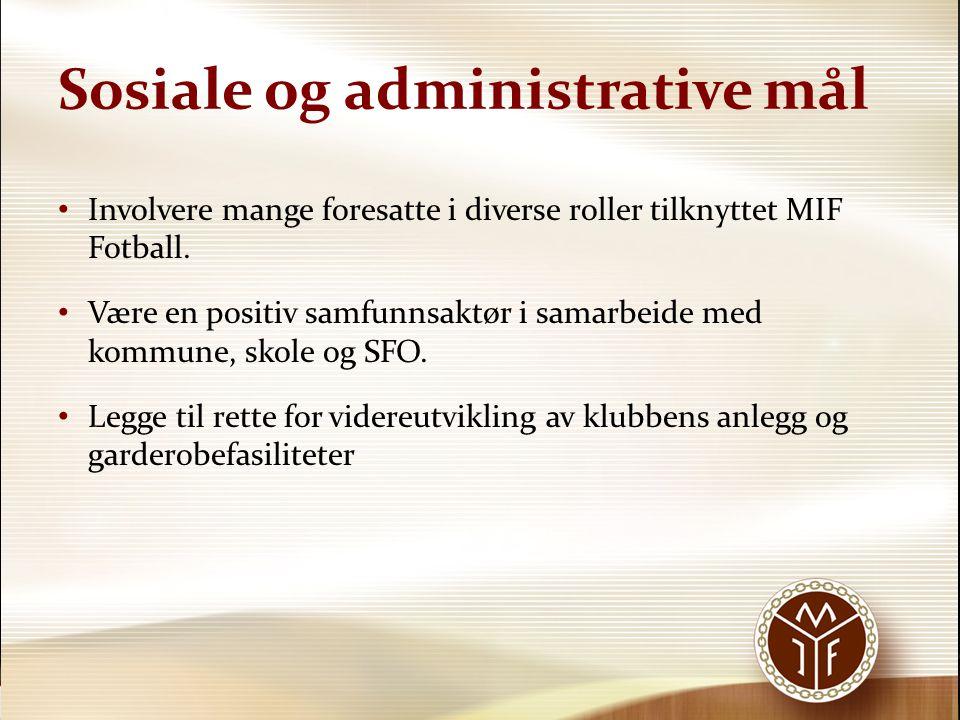 Sosiale og administrative mål • Involvere mange foresatte i diverse roller tilknyttet MIF Fotball. • Være en positiv samfunnsaktør i samarbeide med ko