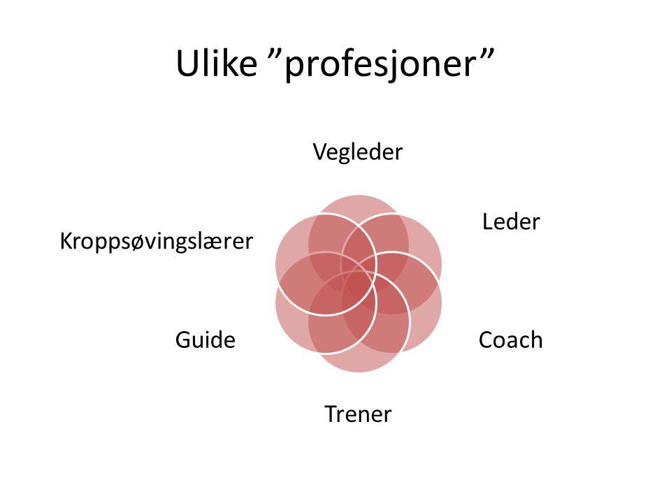Ulike profesjoner Vegleder Leder Coach Trener Guide Kroppsøvingslærer