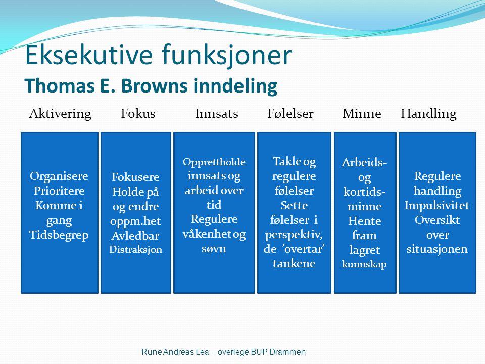 Eksekutive funksjoner Thomas E. Browns inndeling Aktivering Fokus Innsats Følelser Minne Handling Rune Andreas Lea - overlege BUP Drammen Organisere P