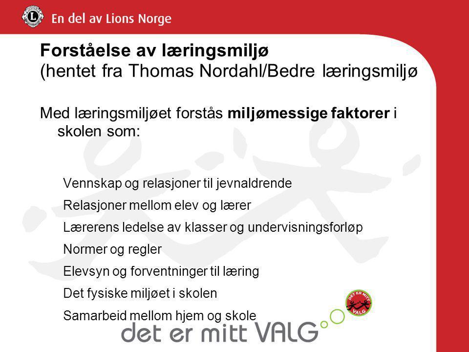 Forståelse av læringsmiljø (hentet fra Thomas Nordahl/Bedre læringsmiljø Med læringsmiljøet forstås miljømessige faktorer i skolen som: Vennskap og re
