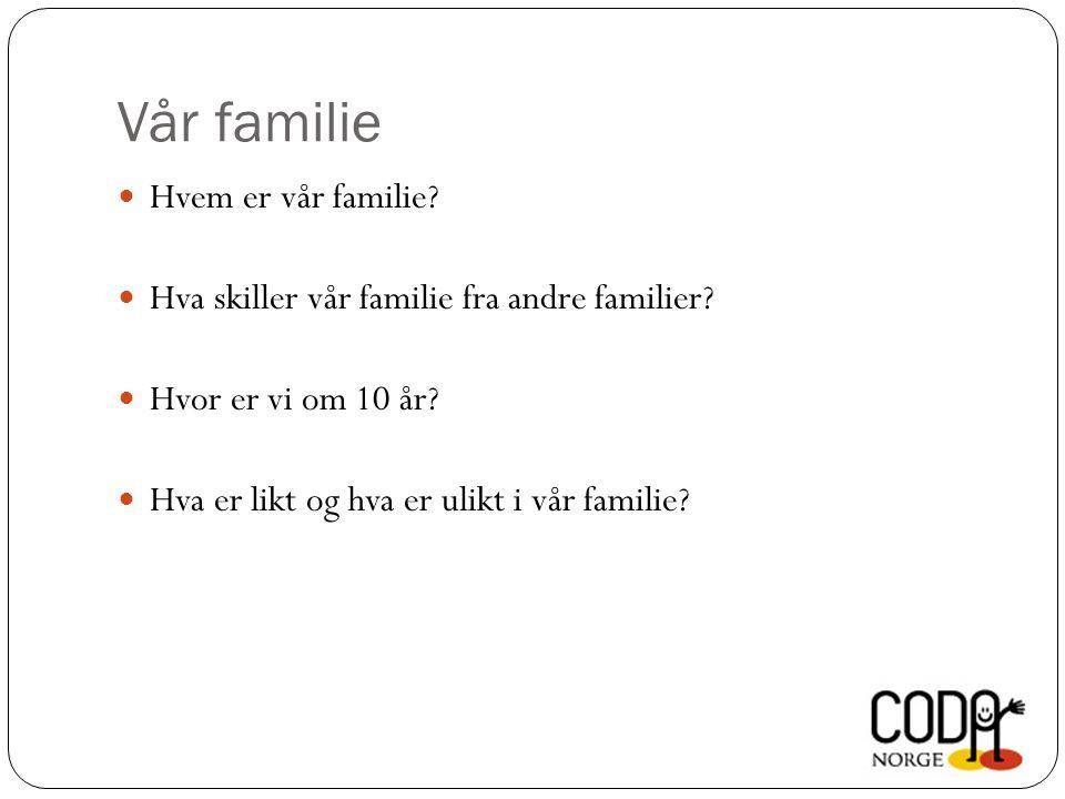 Vår familie  Hvem er vår familie.  Hva skiller vår familie fra andre familier.