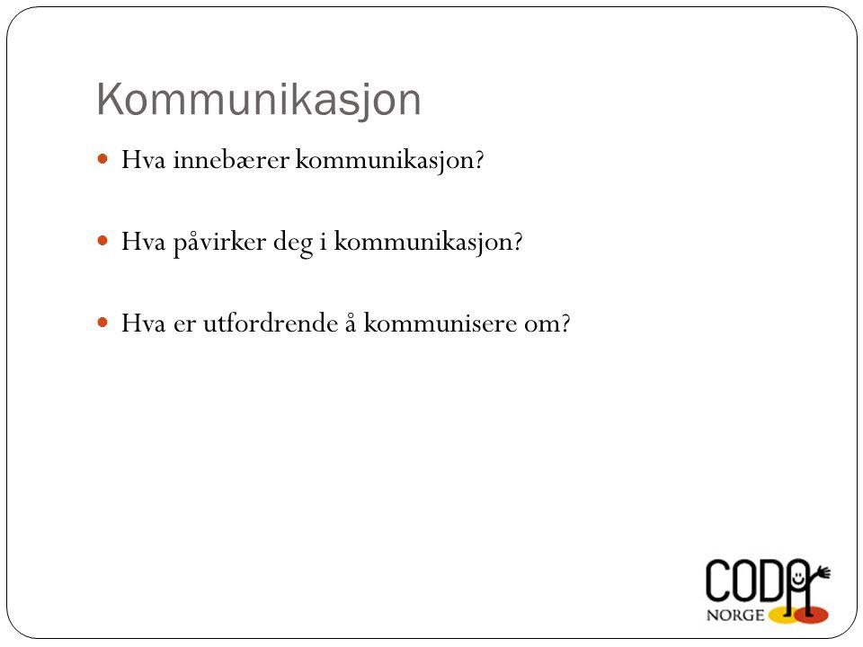 Kommunikasjon  Hva innebærer kommunikasjon. Hva påvirker deg i kommunikasjon.