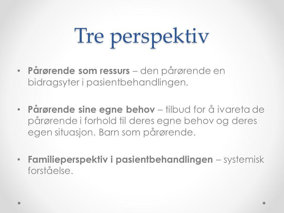 Tre perspektiv • Pårørende som ressurs – den pårørende en bidragsyter i pasientbehandlingen. • Pårørende sine egne behov – tilbud for å ivareta de pår