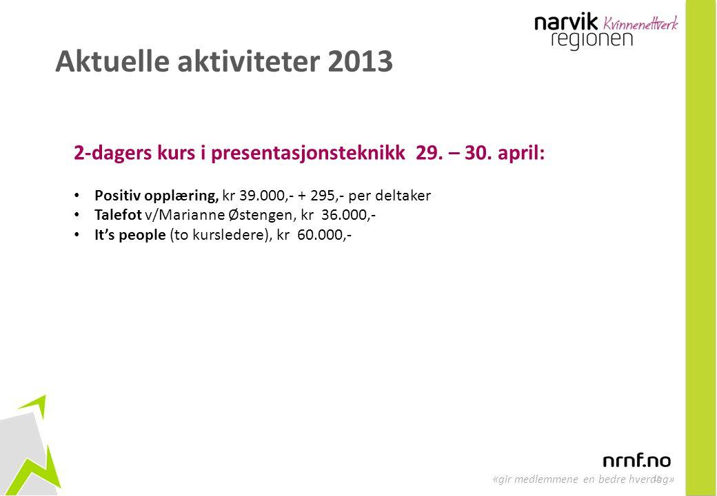 10 « gir medlemmene en bedre hverdag» Aktuelle aktiviteter 2013 2-dagers kurs i presentasjonsteknikk 29. – 30. april: • Positiv opplæring, kr 39.000,-