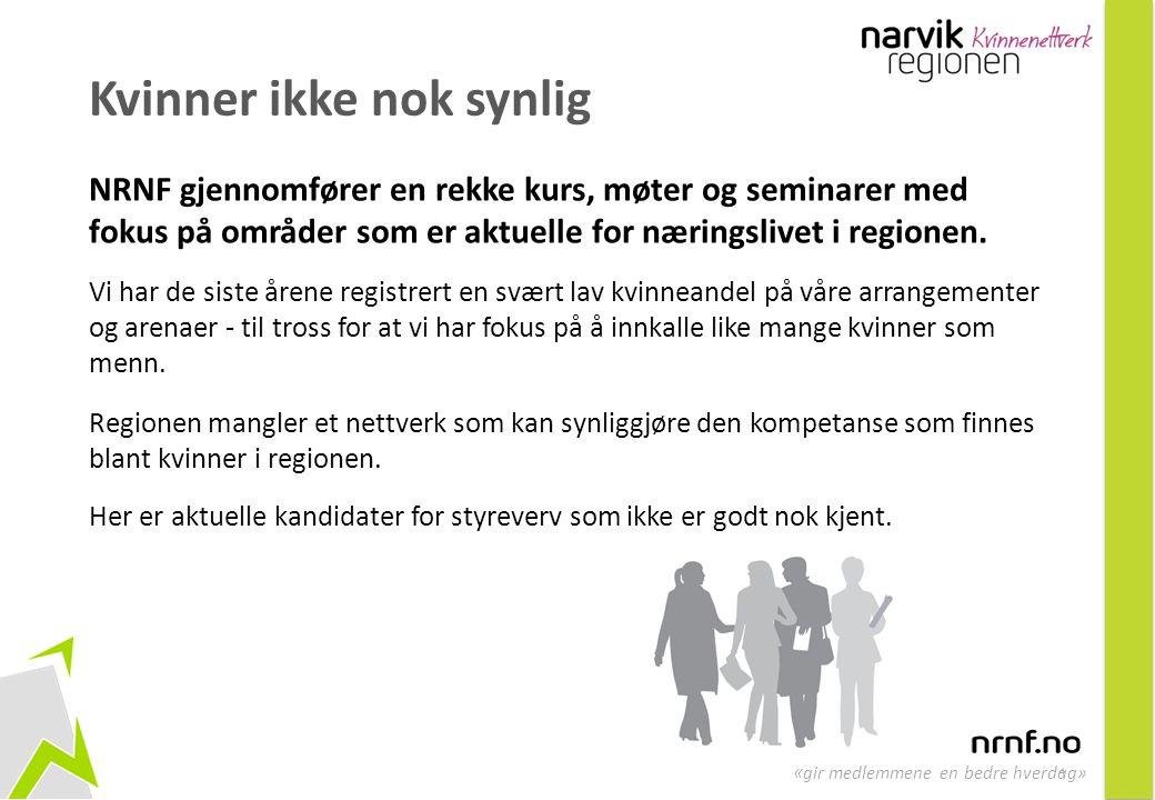 4 « gir medlemmene en bedre hverdag» Kvinner ikke nok synlig NRNF gjennomfører en rekke kurs, møter og seminarer med fokus på områder som er aktuelle for næringslivet i regionen.