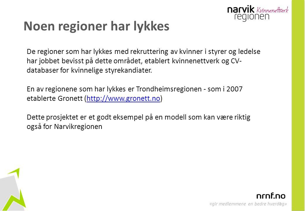 5 « gir medlemmene en bedre hverdag» Noen regioner har lykkes De regioner som har lykkes med rekruttering av kvinner i styrer og ledelse har jobbet be