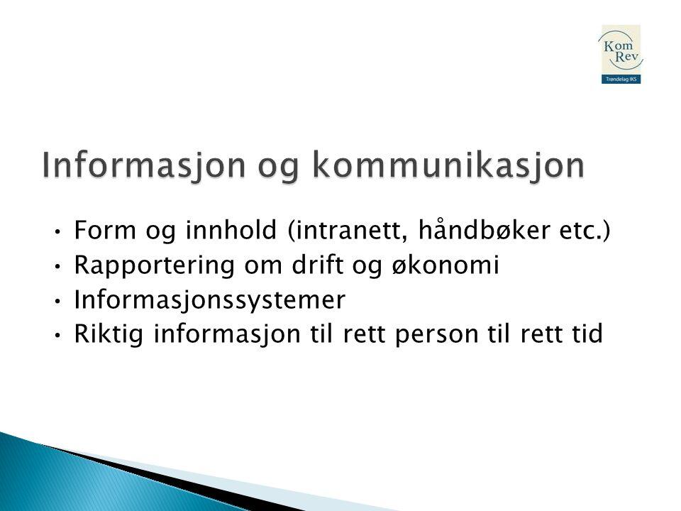 • Form og innhold (intranett, håndbøker etc.) • Rapportering om drift og økonomi • Informasjonssystemer • Riktig informasjon til rett person til rett