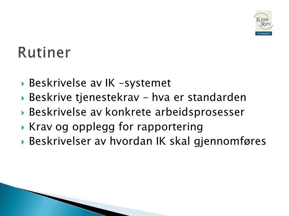  Beskrivelse av IK –systemet  Beskrive tjenestekrav – hva er standarden  Beskrivelse av konkrete arbeidsprosesser  Krav og opplegg for rapporterin