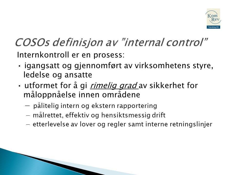 Internkontroll er en prosess: • igangsatt og gjennomført av virksomhetens styre, ledelse og ansatte • utformet for å gi rimelig grad av sikkerhet for