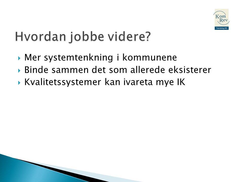  Mer systemtenkning i kommunene  Binde sammen det som allerede eksisterer  Kvalitetssystemer kan ivareta mye IK
