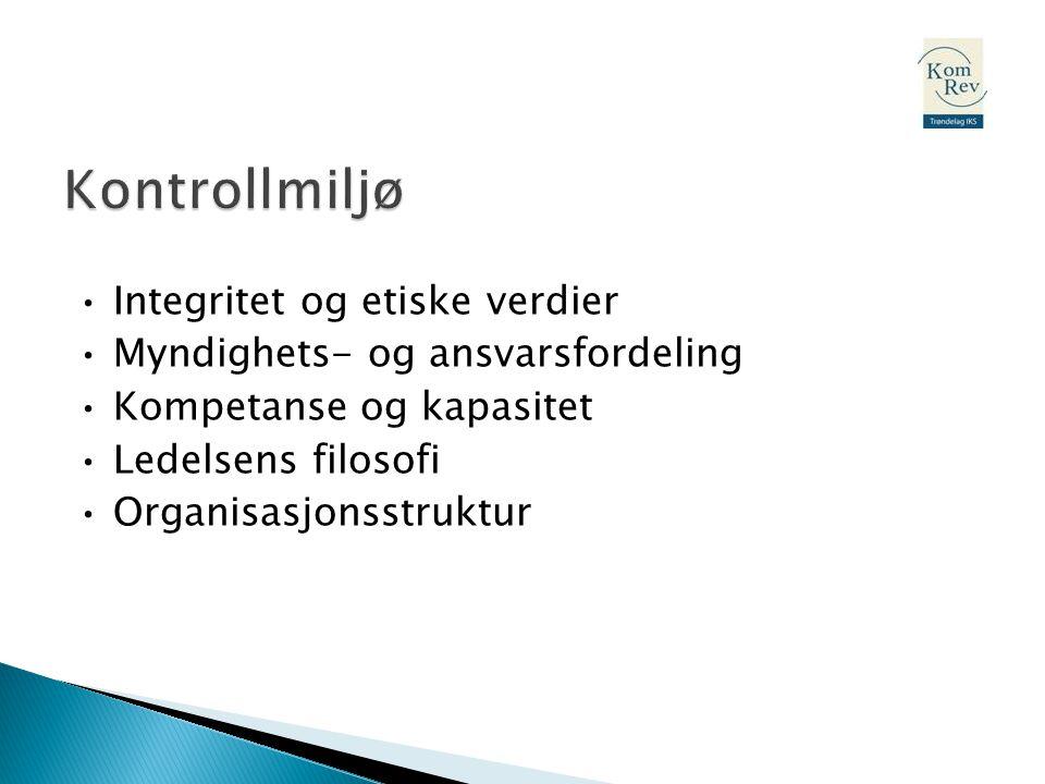 • Integritet og etiske verdier • Myndighets- og ansvarsfordeling • Kompetanse og kapasitet • Ledelsens filosofi • Organisasjonsstruktur