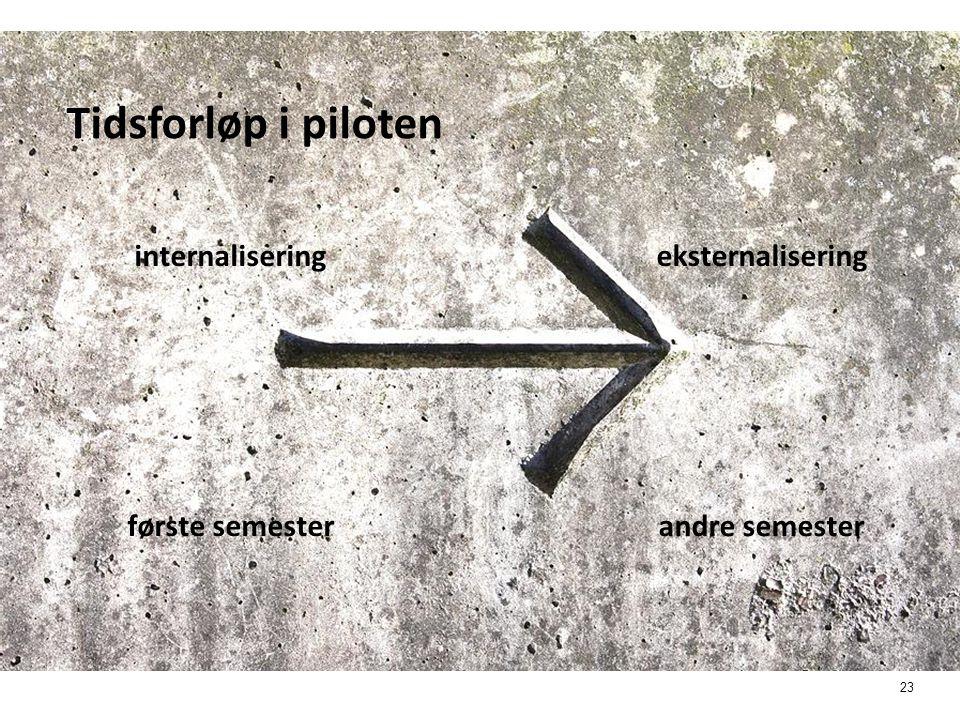 23 Tidsforløp i piloten internaliseringeksternalisering første semester andre semester