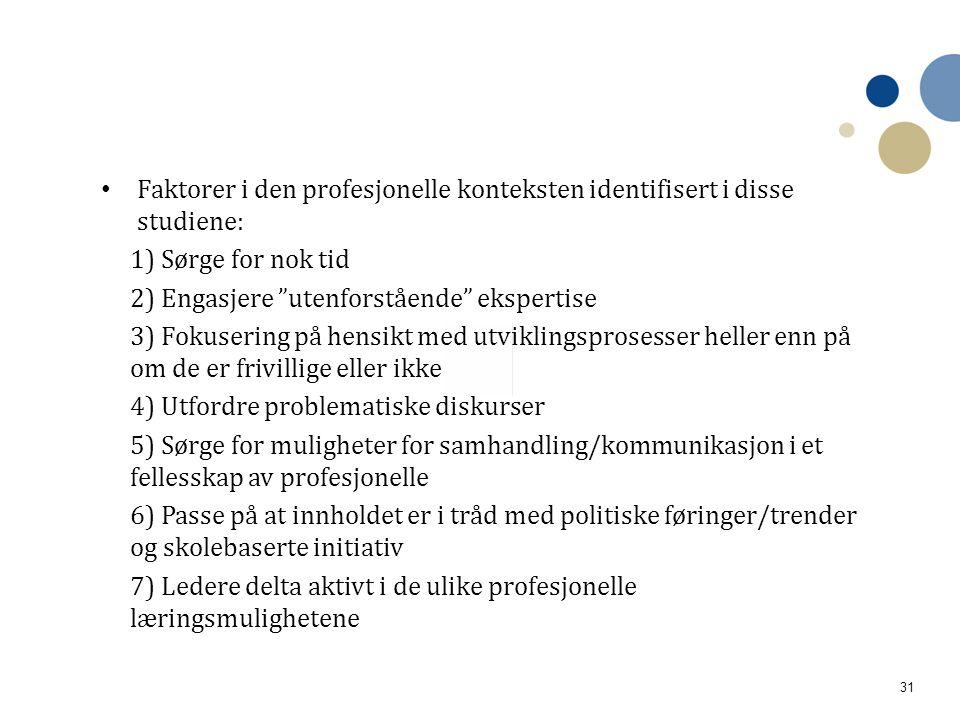 """31 • Faktorer i den profesjonelle konteksten identifisert i disse studiene: 1) Sørge for nok tid 2) Engasjere """"utenforstående"""" ekspertise 3) Fokuserin"""
