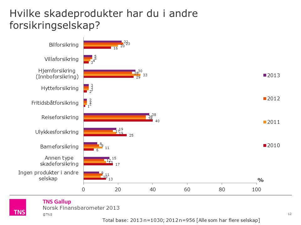 ©TNS Norsk Finansbarometer 2013 Hvilke skadeprodukter har du i andre forsikringselskap.
