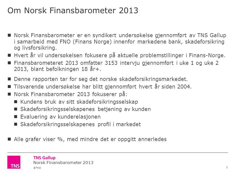 ©TNS Norsk Finansbarometer 2013 Om Norsk Finansbarometer 2013 2  Norsk Finansbarometer er en syndikert undersøkelse gjennomført av TNS Gallup i samarbeid med FNO (Finans Norge) innenfor markedene bank, skadeforsikring og livsforsikring.