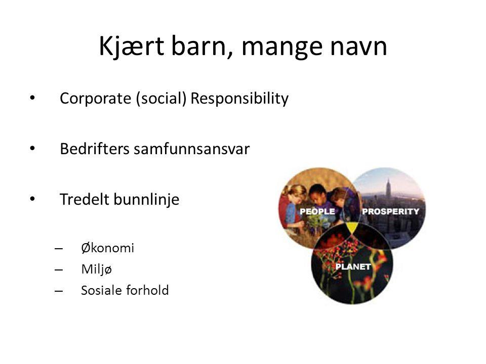 Kjært barn, mange navn • Corporate (social) Responsibility • Bedrifters samfunnsansvar • Tredelt bunnlinje – Økonomi – Miljø – Sosiale forhold
