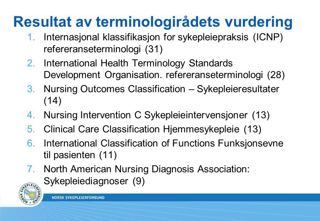 Resultat av terminologirådets vurdering 1.Internasjonal klassifikasjon for sykepleiepraksis (ICNP) refereranseterminologi (31) 2.International Health