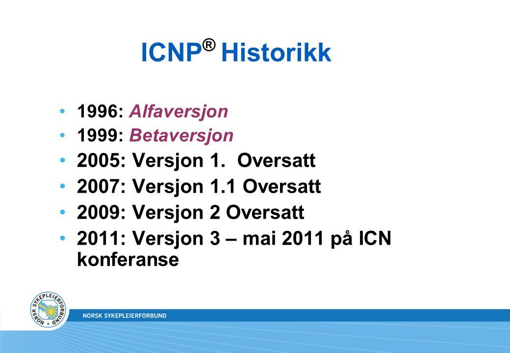 ICNP ® Historikk •1996: Alfaversjon •1999: Betaversjon •2005: Versjon 1. Oversatt •2007: Versjon 1.1 Oversatt •2009: Versjon 2 Oversatt •2011: Versjon