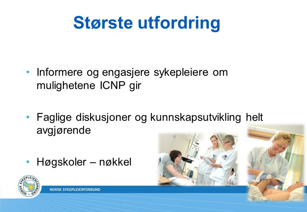 Største utfordring •Informere og engasjere sykepleiere om mulighetene ICNP gir •Faglige diskusjoner og kunnskapsutvikling helt avgjørende •Høgskoler –