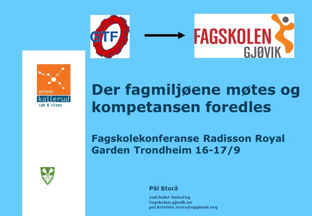 Der fagmiljøene møtes og kompetansen foredles Fagskolekonferanse Radisson Royal Garden Trondheim 16-17/9 Pål Storå avd.leder helsefag fagskolen.gjovik.no pal.kristian.stora@oppland.org