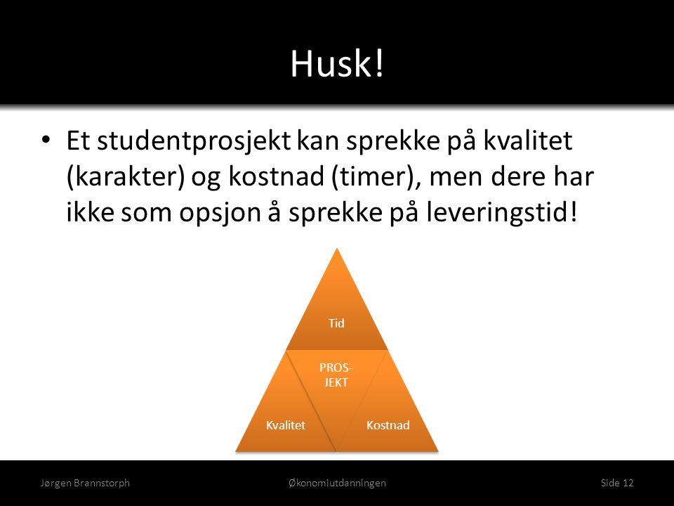 Husk! Jørgen BrannstorphØkonomiutdanningenSide 12 • Et studentprosjekt kan sprekke på kvalitet (karakter) og kostnad (timer), men dere har ikke som op